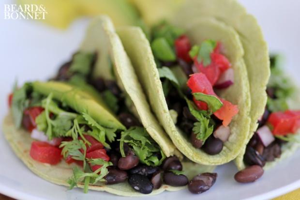 Black Bean Tacos with Cilantro Infused Tortillas